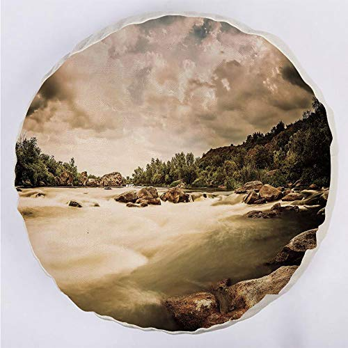 YOUWENll Round Decorative Throw Pillow Floor Meditation Cushion Seating/Saturated Nature Photo of Cloudy Storm Sky and Rocky River Image/for Home Decoration 17