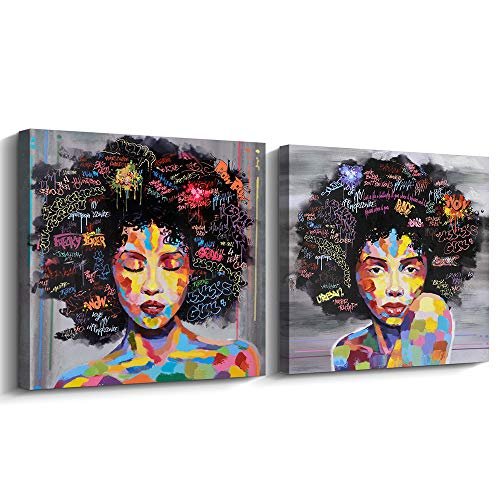 Canvas American - Pinetree Art African American Black Art Canvas Wall Art, Original Designed Pop Graffiti Style Canvas Painting on Print (24 x 24 inch, A Framed & B Framed)