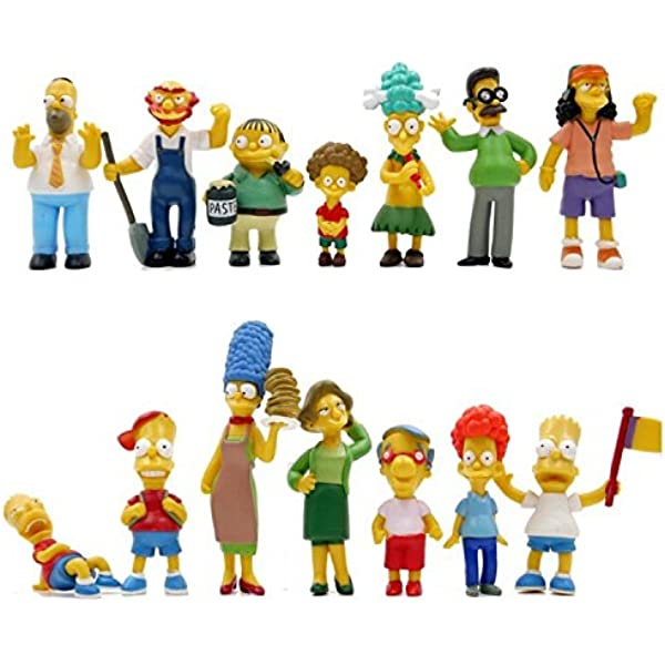 Amazon Com The Simpsons 14 Piece Figure Set Featuring Homer Simpson Bart Simpson Ned Flanders Marge Simpson Milhouse Rod Flanders Todd Flanders Otto Mann Ralph Wiggum Groundskeeper Willie Mrs Krabopple And Sideshow Mel