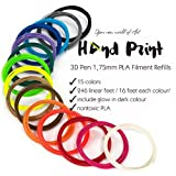 Hand Print 3D Pen 1.75mm PLA Filament Refills – 3D Printing Plastic Pack of 15 Different Colors (2 Glow in the Dark) - Length: 16 feet, Individually Vacuum-Sealed – for Your Best Doodle Arts