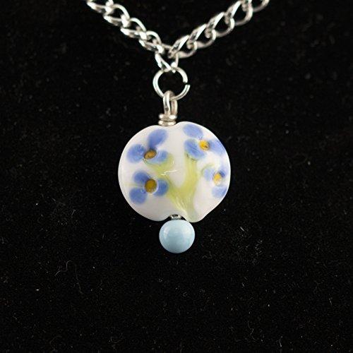 Blue Flower Lentil Necklace
