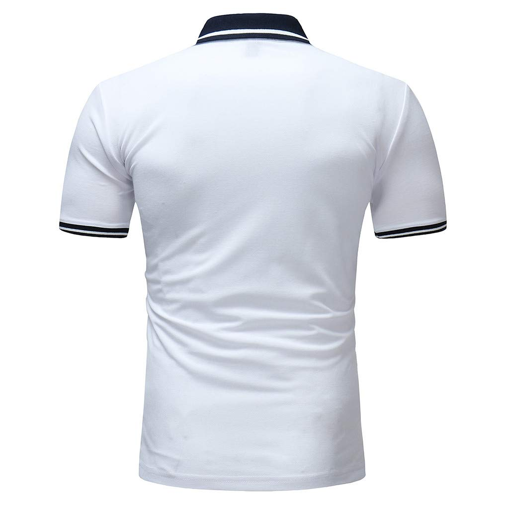 Mens Polo Shirt Buttons T Shirt Half Cardigans Short Sleeve Patchwork Casual