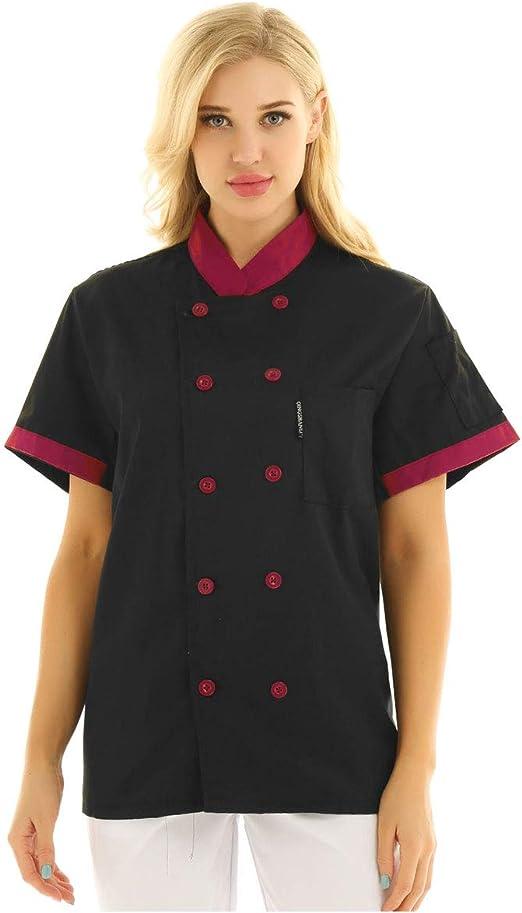 inlzdz Unisexo Camisa de Cocinero para Hombre Mujer Uniforme Mandarin de Trabajo Chaqueta de Chef Ropa de Trabajador de Cocina Restaurante Hotel Camiseta Manga Corta: Amazon.es: Ropa y accesorios