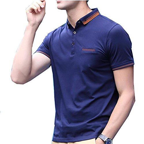 両方ますます章エレガンザー ボロシャツ メンズ 半袖 カジュアル 欧米風 S-XL ゴルフウェア スポーツウェア トップス ビジネス スタイリッシュ ストライプ切替 通気吸汗