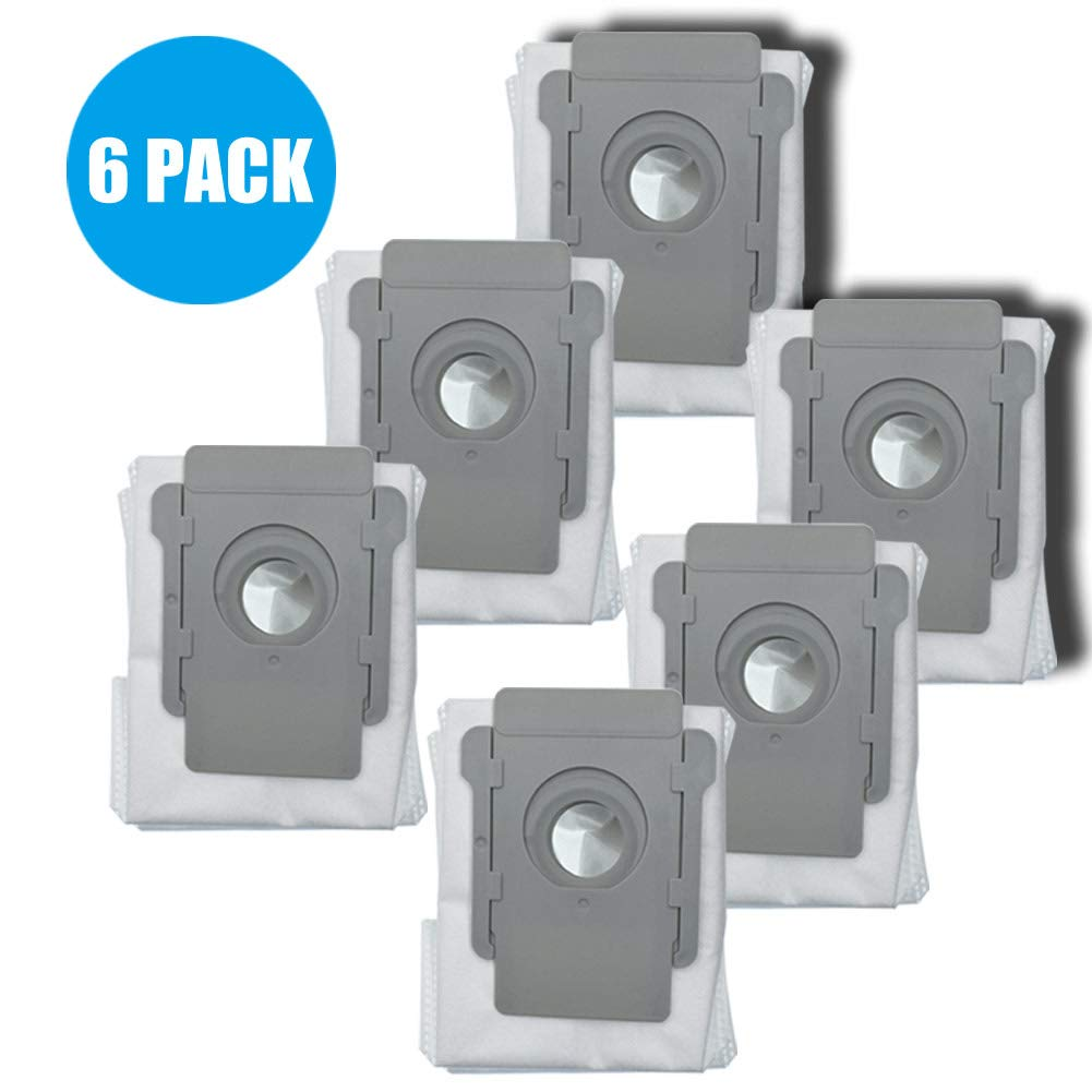 HIHEPA 6-Pack Replacement Robot Automatic Dirt Disposal Bags Compatible with iRobot Roomba i7 and i7+ Clean Base,Also Fit iRobot Roomba E5 E6 E7 by HIHEPA