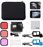 AFAITH Kit di Accessori 6 in 1 per GoPro Hero 9 Black, Custodia Impermeabile Antiurto Custodia Si...