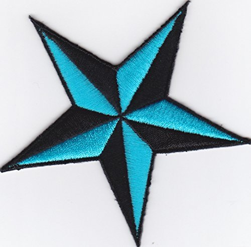 Iron on Patch Embroidered Patches Application Nautic Star Compass Rose Black and Light Blue Big ()
