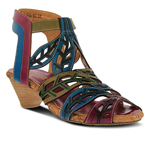 (L'ARTISTE Women's Bohochic Leather Ankle Strap Sandal - Turquoise Multi - 38)