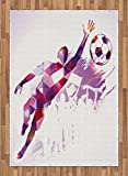 Boy's Room Area Rug by Lunarable, Abstract Silhouette Fractal Mosaic Soccer Player Goalkeeper Catching Ball, Flat Woven Accent Rug for Living Room Bedroom Dining Room, 5.2 x 7.5 FT, Violet Pink Red