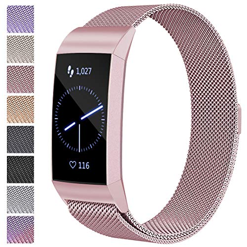 Maledan Compatible with Fitbit Charge 3 Bands, Rose Gold, Large