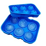 Ice Balls Cube Maker Mold - Sphere Ice Maker Large Square Tray Set BPA Free Silicone Flexible Reusable Cool Whiskey, Bourbon, Cocktails, Drinks, Liquids Or Make Popsicles Green Blue [2 Pack]