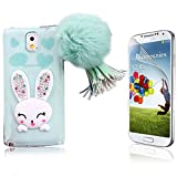 Galaxy Note 5 Cover, Bonice Cartoon Rabbit Bling Diamond Crystal Soft TPU Cute Ear Stand Silicone Case with Hairball Pompon Wristlet For Samsung Galaxy Note 5 + Screen Protector, Green