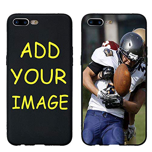 Customized Picture Photo Cover Case for iPhone 7 Plus/iPhone8 Plus, Add Photo Picture Text Image Picture Photo Tempered Glass Cover Soft Silicone Rubber Bumper Frame Case Birthday Xmas Gift