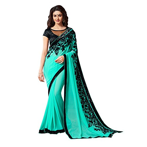 Shree Designer Sarees Women's Enticing Turquoise Embroidered Work Georgette Designer Saree With Unstitched Blouse, One Size