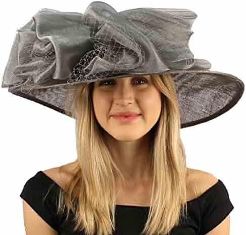 SK Hat shop Fancy Kentucky Derby Floppy Big Layer Fishnet Sheen Ribbon Bow  Church Hat d30db1ee4997