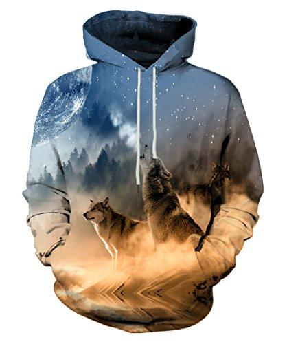 Kamisco: Cool Hooded 3D Printed Sweatshirt: Clothing
