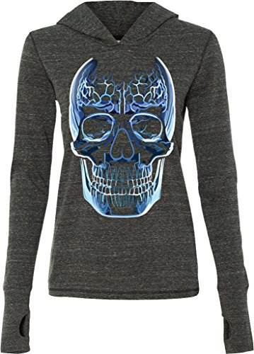 Ladies Glass Skull Tri Blend Hoodie, Charcoal, Small
