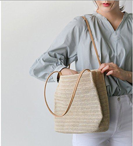 V-Best Straw Bag Straw Beach Tote Bag for Women with Inner Zipper Pocket and Leather Handle-Eco Friendly.(Small,Beige)