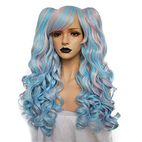 (Anogol Hair+Cap Lolita Wig With Bangs for Party Blue Mix Pink Wigs With Two Ponytails Synthetic Wigs for)
