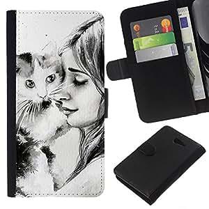 Planetar® Modelo colorido cuero carpeta tirón caso cubierta piel Holster Funda protección Para Sony Xperia M2 / M2 dual ( Cute Girl & Cat )