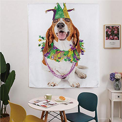 Mardi Gras Blackout Window curtain,Free Punching Magic Stickers Curtain,Happy Smiling Basset Hound Dog Wearing a Jester Hat Neck Garland Bead Necklace Decorative,for Living Room,study, kitchen, ()