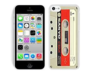 Custom TPU Apple Iphone 5c White Case Audio Cassette Soft Silicone Rubber Cell Phone Cover