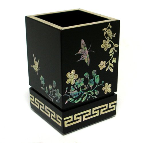 - Mother of Pearl Inlay Wooden Wild Flower and Butterfly Design Desk Desktop Pen Pencil Brush Cup Case Box Holder