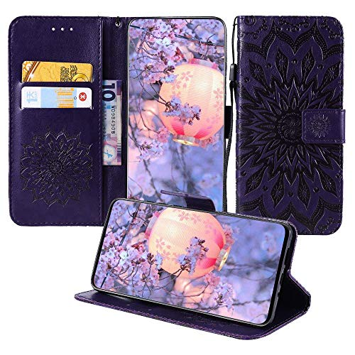 (JZ K8 (8) Wallet Cases [3D Printing Series ][Sun Flower] PU Leater Wallet Phone Case Flip Cover for LG Aristo 2/Zone 4/Tribute Dynasty/Rebel 3/Phoenix 4/Fortune 2/Risio 2 - Purple)