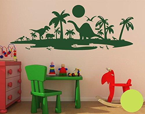 Klebefieber Wandtattoo Dinolandschaft B x H  100cm x x x 37cm Farbe  dunkelgrün B071HH1HGY Wandtattoos & Wandbilder 6801cb