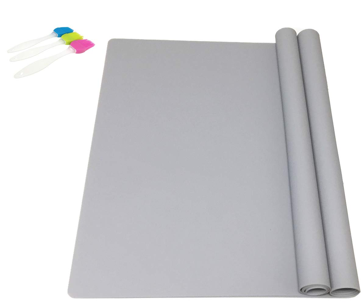 EPHome 2Pack Extra Large Multipurpose Silicone Nonstick Pastry Mat, Heat Resistant Nonskid Counter Mat, Table Mat, 23.6''15.75'' (Gray)