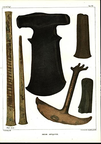 Indian Antiquities Metal Implements Tools 1855 antique color lithograph print