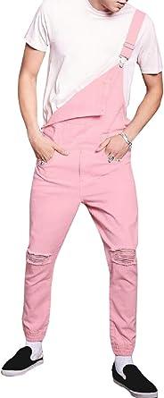 dahuo Mens Vintage Overalls Denim Bib Overalls Ripped Jeans