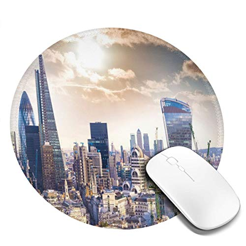 Round Mouse Pad,Modern District London Aerial Image Famous Architecture Dramatic Sky in England,Non-Slip Gaming Mouse Mat,2 PCS