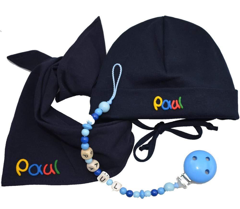 Babym/ütze mit Dreieckstuch und Schnullerkette 3-teilig Babygeschenke zur Geburt Geschenke zur Taufe Babygeschenkset on Tour brombeer