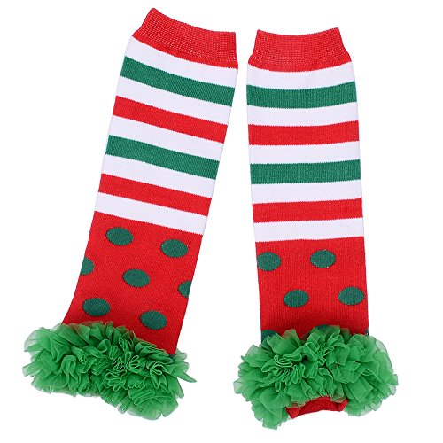 Aerusi Kids Autumn Winter Leg Warmers with Lace Flower (Green/Red Stripe) -