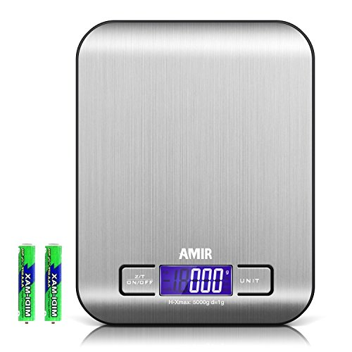 AMIR Digital Kitchen Scale, 5kg, 0.05oz/ 1g Cooking Scale, Accuracy Food Scale, 6 Units, Back-Lit LCD Display, Tare & Auto Off Function, Stainless Steel & Slim Design Batteries Included (Black Base)