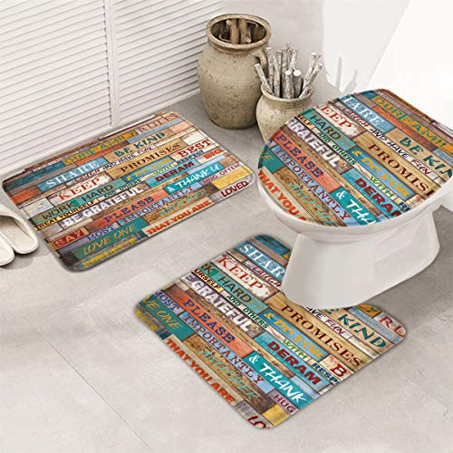 T&H Home Memory Foam Soft Bath Rug Sets 3 Piece Colored Rustic Wood Family Rules Non-Slip Bath Set for Bathroom with Bath Mat, Contour Mat & Toilet Lid Cover Solid New # 20