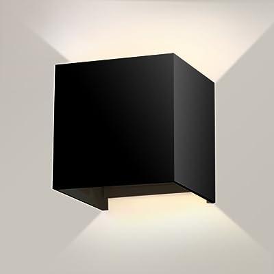 7W 2700K Lampe Murale À Led Avec Faisceau Réglable Design Angle Mur Led Étanche Chaud Feux Noir Pour Chambre À Coucher Maison Lampe De Chevet, 10 X 10 X 10 Cm