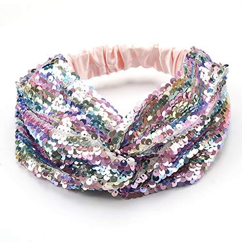 Sequin Flip Mermaid Headband Mermaid Party Favors Sequence Hairband Hair Accessory for Girls Birthday Gift, Light Rainbow