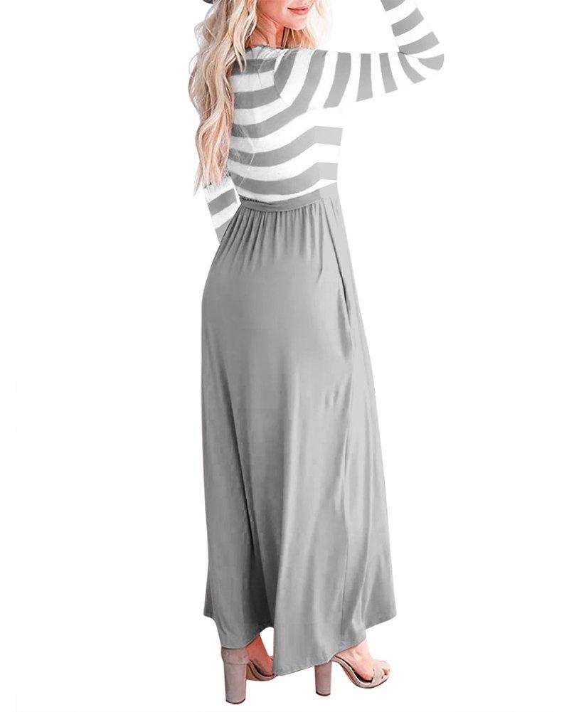 Tomwell Mujer Elegante Moda Rayas Cuello Redondo Sin Mangas Cintura Alta Maxi Vestidos Largo con Cinturón: Amazon.es: Ropa y accesorios