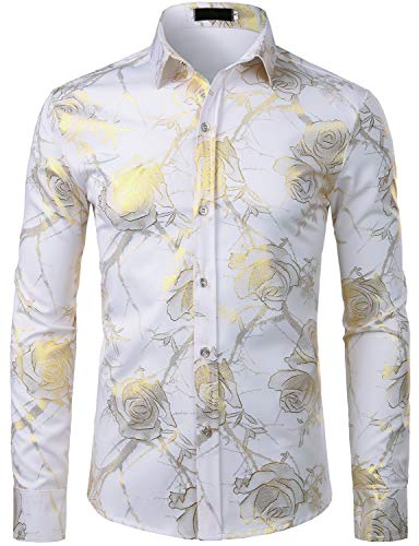 (ZEROYAA Men's 3D Gold Rose Design Slim Fit Long Sleeve Floral Print Dress Shirts/Prom Performing Shirts ZZCL15 White Large)