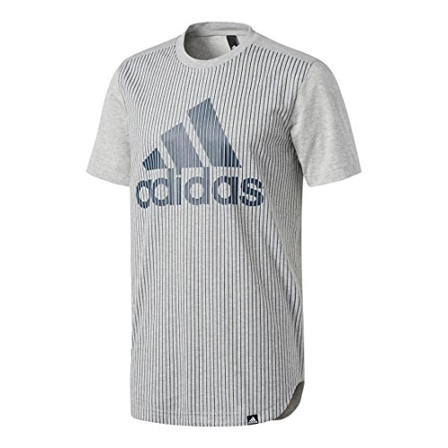 adidas Men's Athletics Graphic Tee, Medium Grey Heather/Collegiate Navy/Pinstripe, X-Large