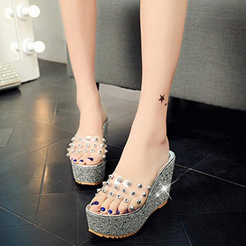 Gold Wild Word Heeled Transparent Female Wear Silver High Rivet With 38 Drag Slope Sandals Slipper Summer TwqxO