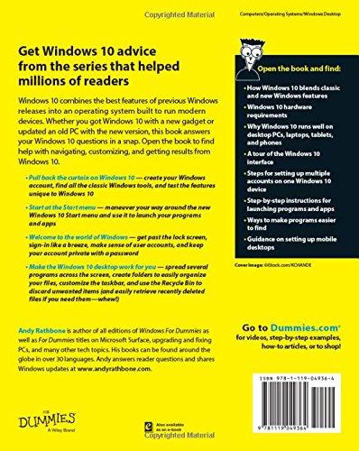 Windows 10 For Dummies Andy Rathbone 9781119049364 Books Amazon Ca