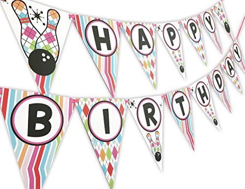 (Bowling Pink Happy Birthday Banner Pennant)