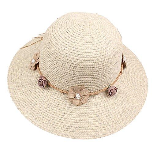 Corgy Women Fashion Flower Decor Wide Brim Round Straw Sunhat Beachwear Traval