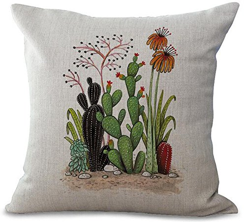 - Fresh And Colorful Hand-painted Potted Cactus Succulents Cotton Linen Throw Pillow Case Personalized Cushion Cover NEW Home Office Decorative Square 18 X 18 Inches