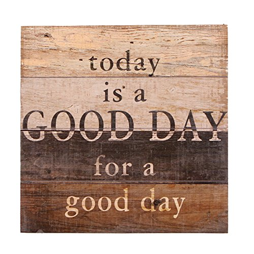 NIKKY HOME Decorative Inspirational Wooden Wall Art Quote Signs Today is a Good Day a Good Day,11.93 x 11.93 ()