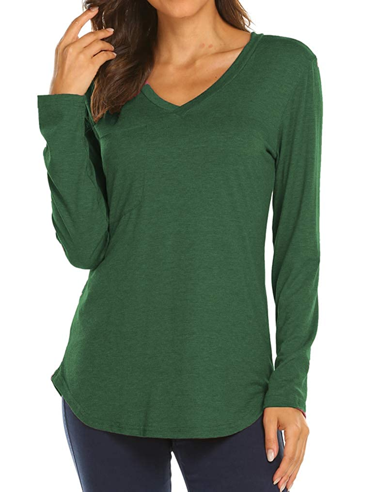 43b16cad9b Tobrief Women s Casual Loose Long Sleeve T Shirt V Neck Tunic Tops with  Pocket at Amazon Women s Clothing store