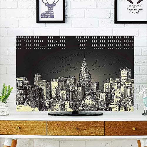 - Jiahonghome Dust Resistant Television Protector Decor Grunge Pop Art Style Retro NYC Sky with Iconic Empire States Building tv dust Cover W36 x H60 INCH/TV 65